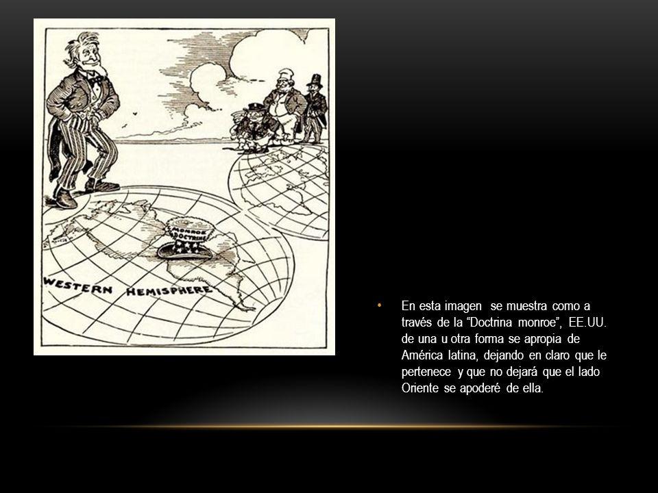 En esta imagen se muestra como a través de la Doctrina monroe , EE.UU.