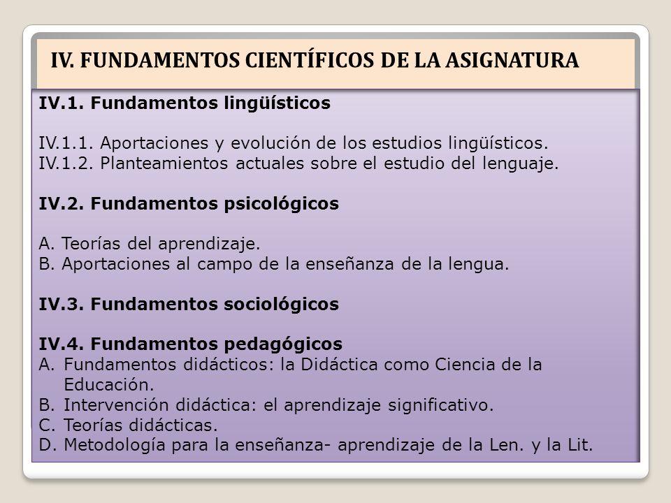 IV. FUNDAMENTOS CIENTÍFICOS DE LA ASIGNATURA