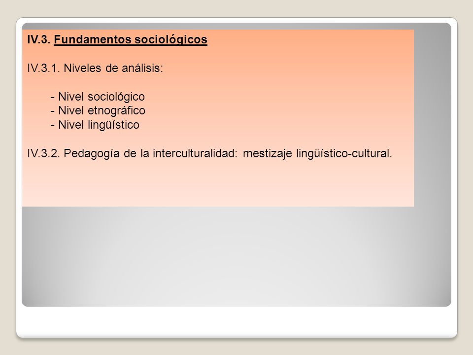 IV.3. Fundamentos sociológicos