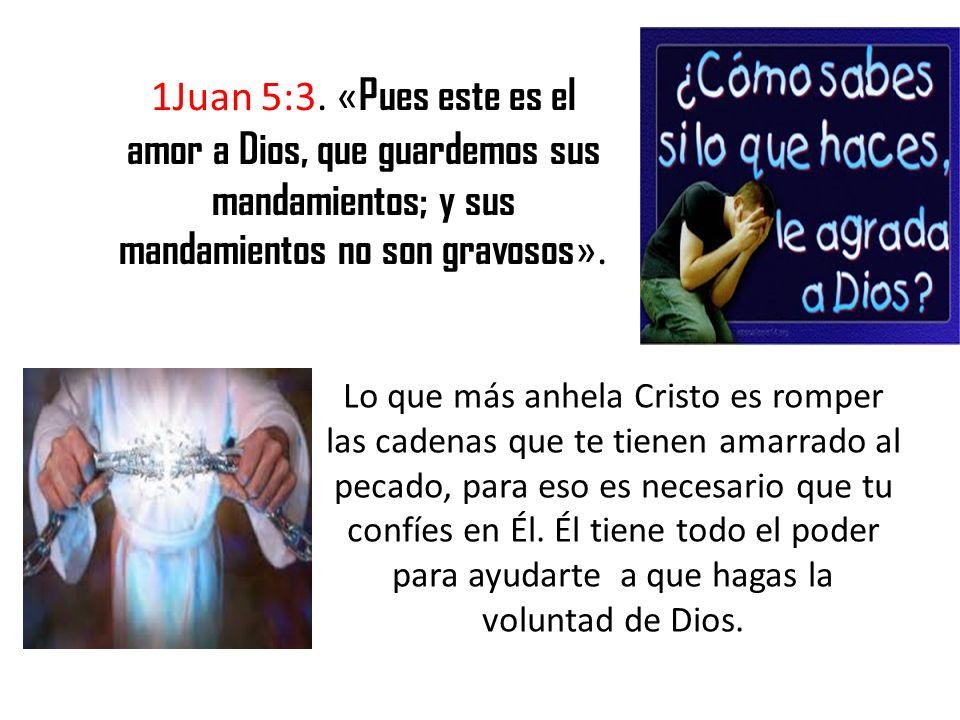 1Juan 5:3. «Pues este es el amor a Dios, que guardemos sus mandamientos; y sus mandamientos no son gravosos».