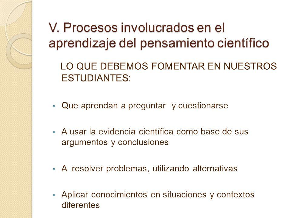 V. Procesos involucrados en el aprendizaje del pensamiento científico
