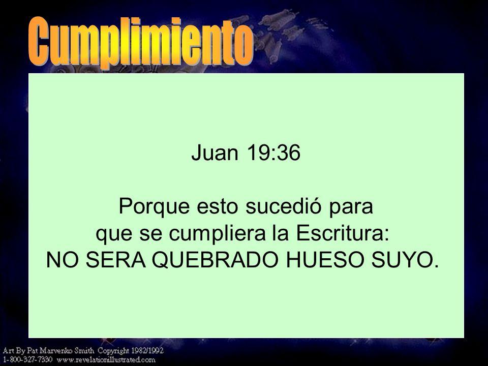 Cumplimiento Juan 19:32-33, 36 Juan 19:36 Porque esto sucedió para