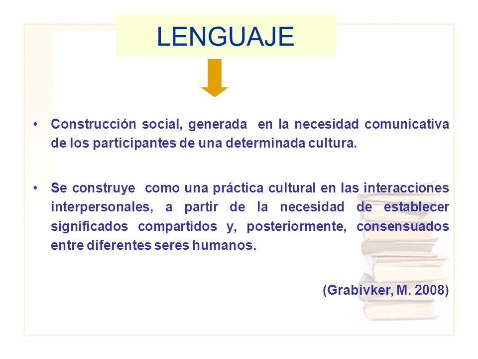 LENGUAJE Construcción social, generada en la necesidad comunicativa de los participantes de una determinada cultura.
