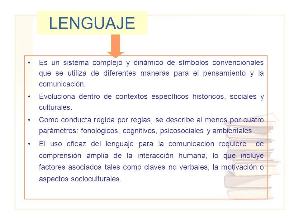 LENGUAJE Es un sistema complejo y dinámico de símbolos convencionales que se utiliza de diferentes maneras para el pensamiento y la comunicación.