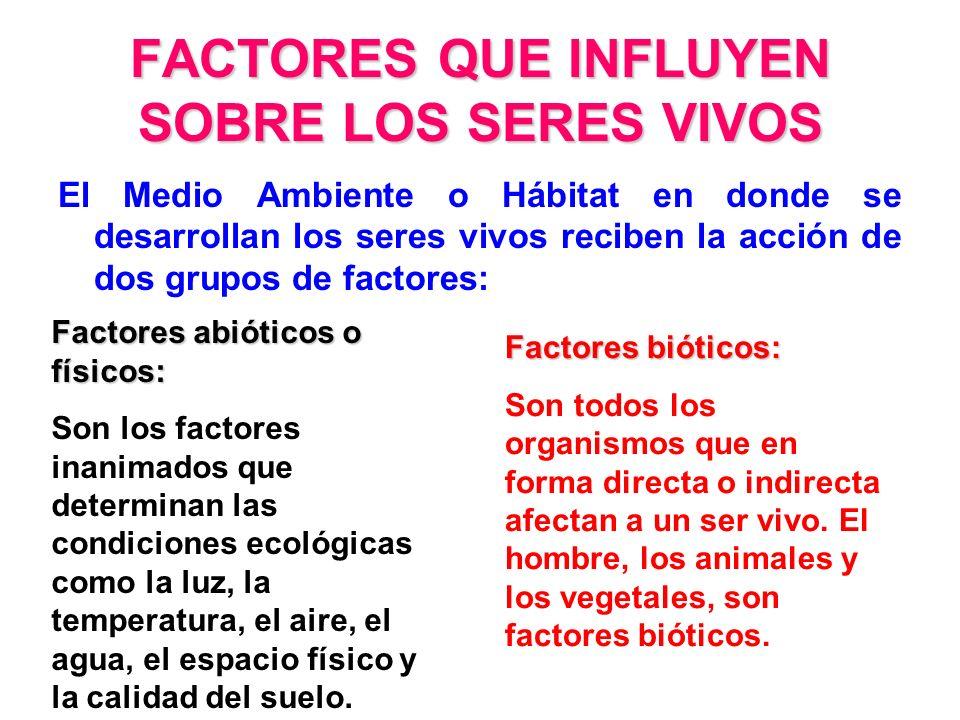 FACTORES QUE INFLUYEN SOBRE LOS SERES VIVOS