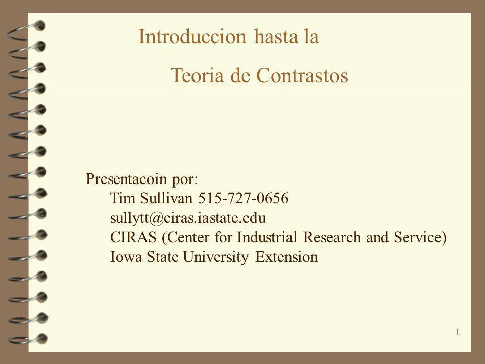 Introduccion hasta la Teoria de Contrastos Presentacoin por: