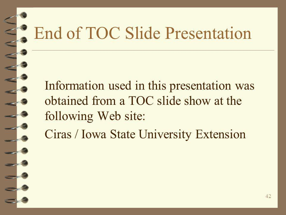 End of TOC Slide Presentation
