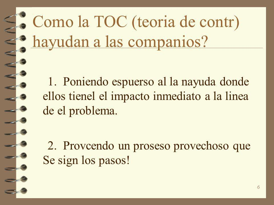 Como la TOC (teoria de contr) hayudan a las companios
