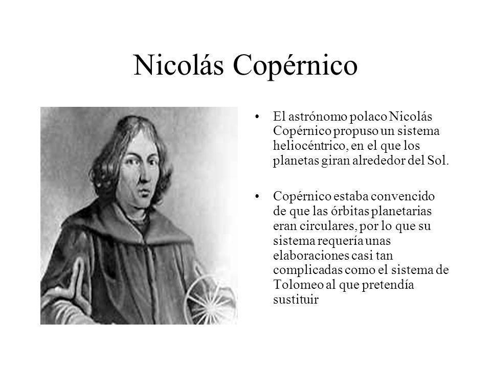 Nicolás CopérnicoEl astrónomo polaco Nicolás Copérnico propuso un sistema heliocéntrico, en el que los planetas giran alrededor del Sol.