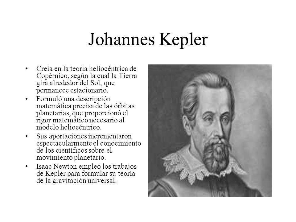 Johannes KeplerCreía en la teoría heliocéntrica de Copérnico, según la cual la Tierra gira alrededor del Sol, que permanece estacionario.