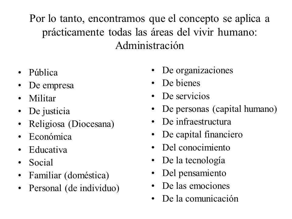 Por lo tanto, encontramos que el concepto se aplica a prácticamente todas las áreas del vivir humano: Administración