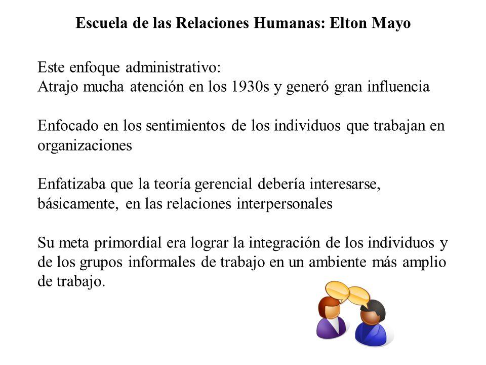 Escuela de las Relaciones Humanas: Elton Mayo