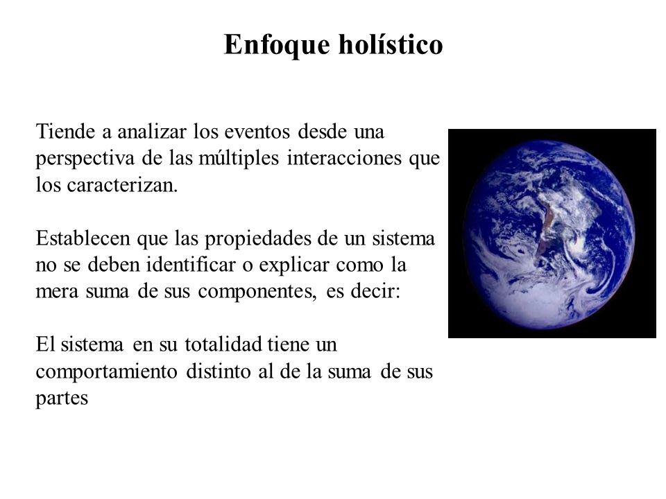 Enfoque holísticoTiende a analizar los eventos desde una perspectiva de las múltiples interacciones que los caracterizan.