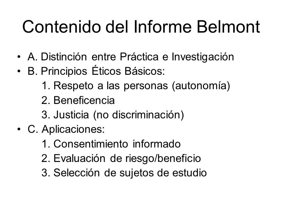 Contenido del Informe Belmont