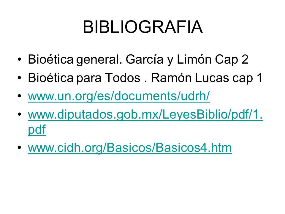 BIBLIOGRAFIA Bioética general. García y Limón Cap 2