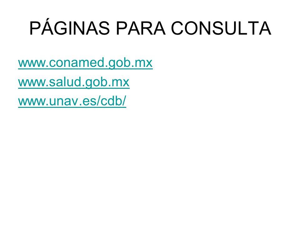 PÁGINAS PARA CONSULTA www.conamed.gob.mx www.salud.gob.mx