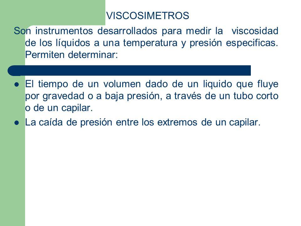 VISCOSIMETROS Son instrumentos desarrollados para medir la viscosidad de los líquidos a una temperatura y presión especificas. Permiten determinar: