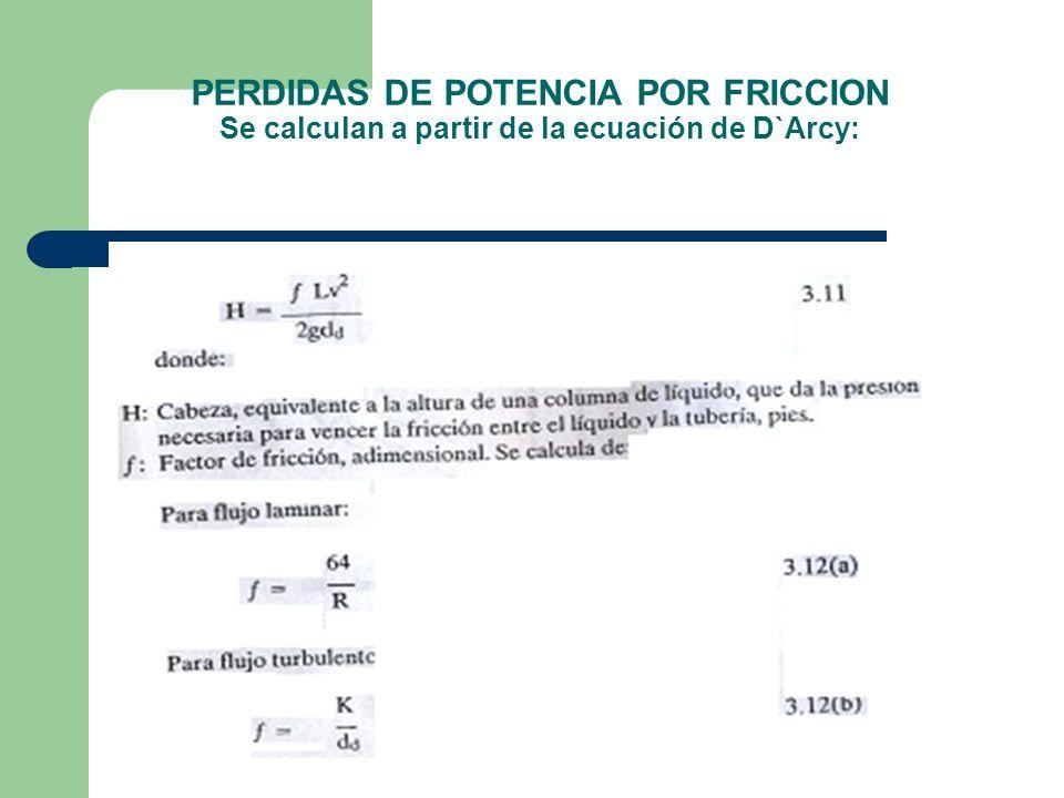 PERDIDAS DE POTENCIA POR FRICCION Se calculan a partir de la ecuación de D`Arcy: