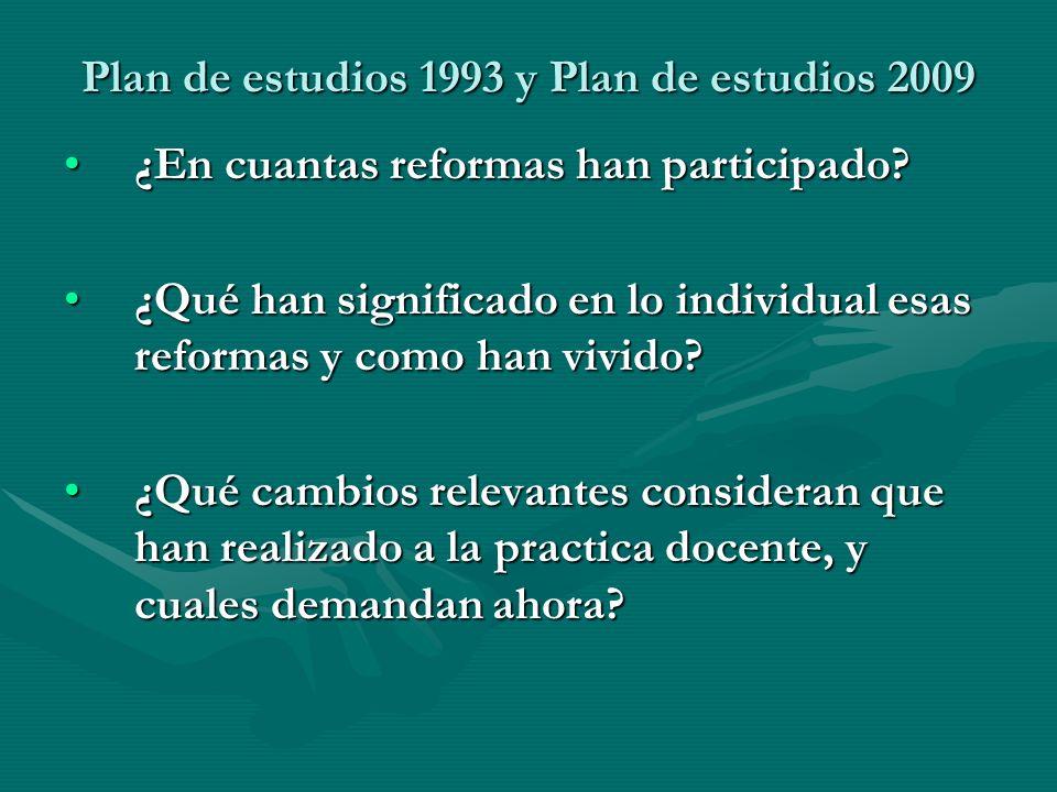 Plan de estudios 1993 y Plan de estudios 2009
