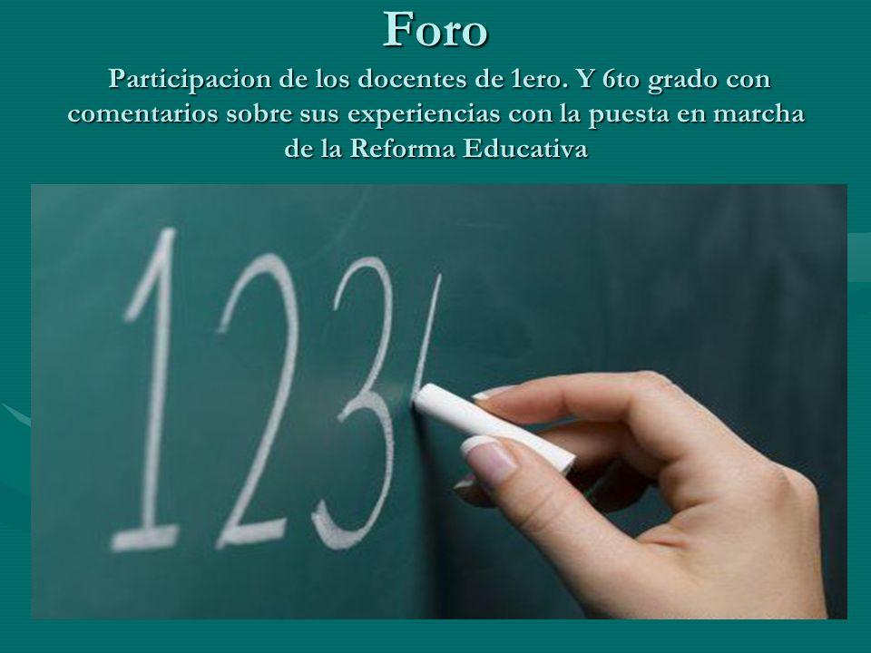 Foro Participacion de los docentes de 1ero