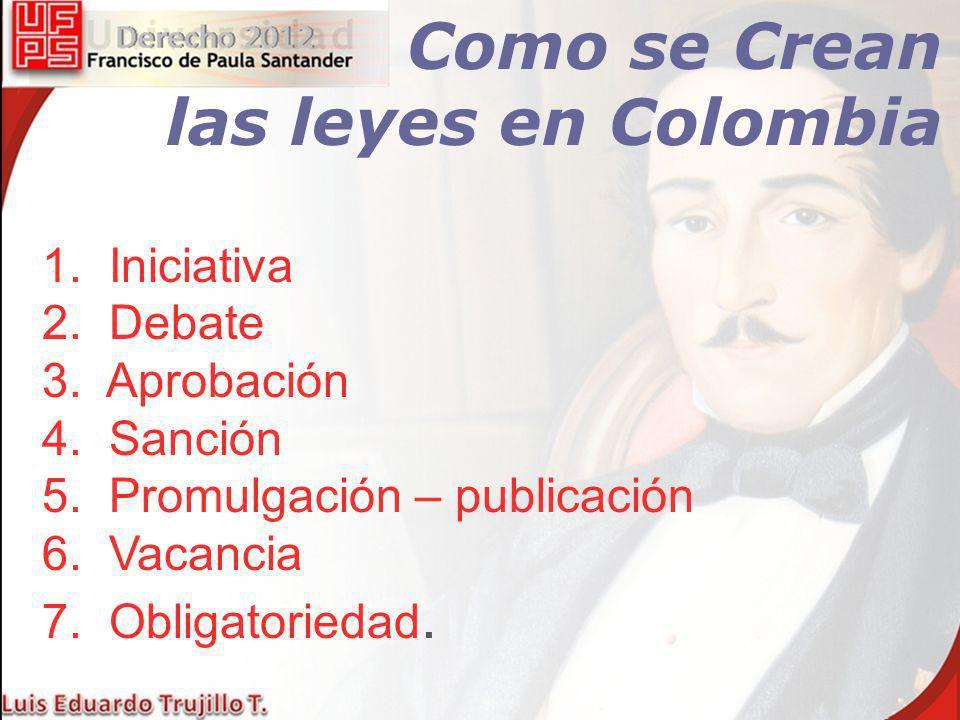 Como se Crean las leyes en Colombia 1. Iniciativa 2. Debate
