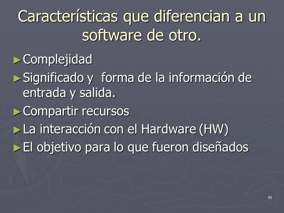 Características que diferencian a un software de otro.