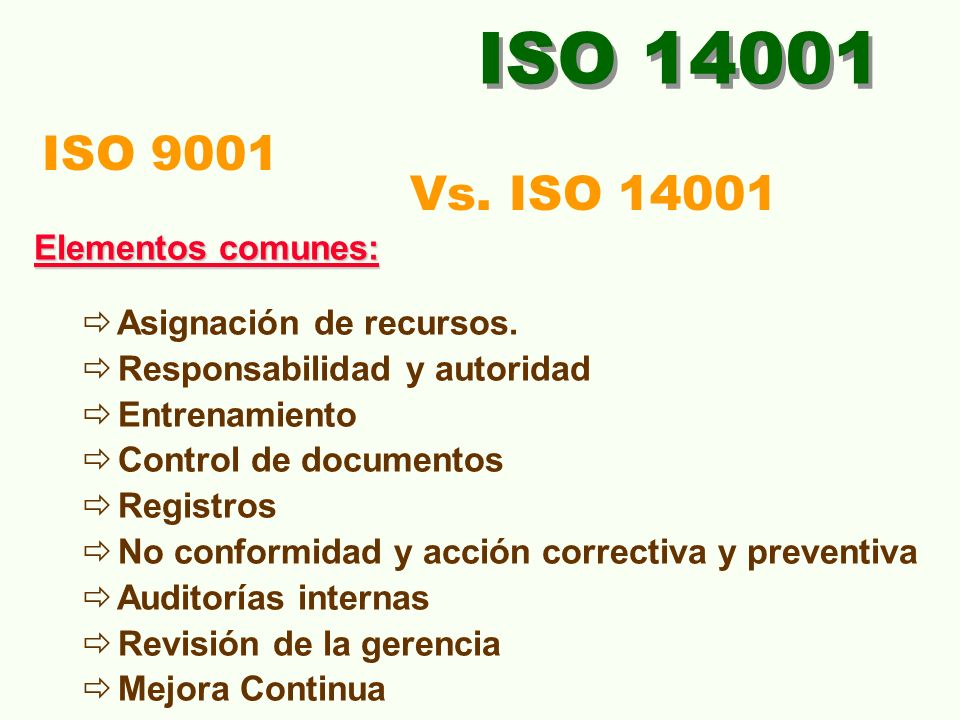 ISO 14001 ISO 9001 Vs. ISO 14001 Elementos comunes: