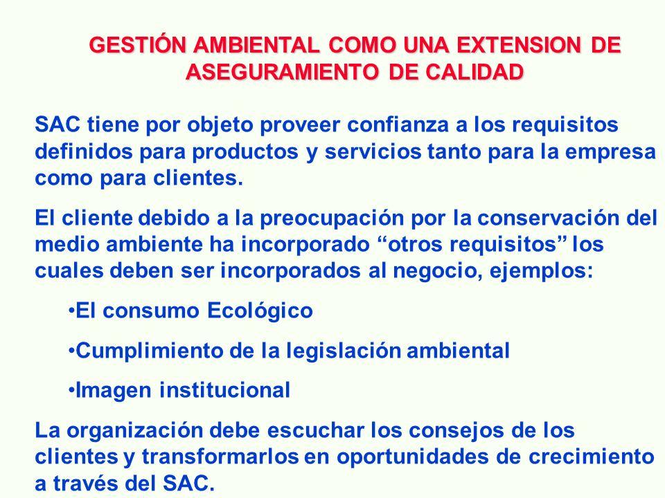 GESTIÓN AMBIENTAL COMO UNA EXTENSION DE ASEGURAMIENTO DE CALIDAD