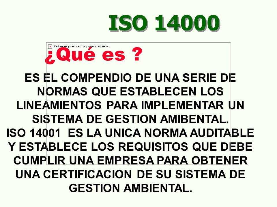 ISO 14000 ¿Qué es ES EL COMPENDIO DE UNA SERIE DE NORMAS QUE ESTABLECEN LOS LINEAMIENTOS PARA IMPLEMENTAR UN SISTEMA DE GESTION AMIBENTAL.