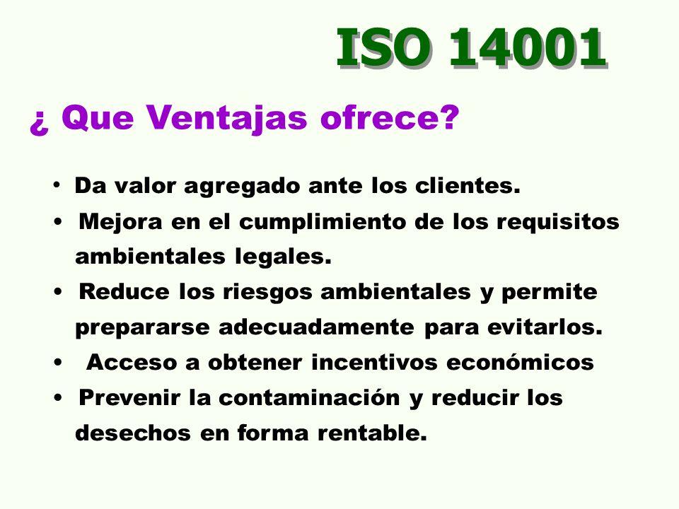 ISO 14001 ¿ Que Ventajas ofrece Da valor agregado ante los clientes.