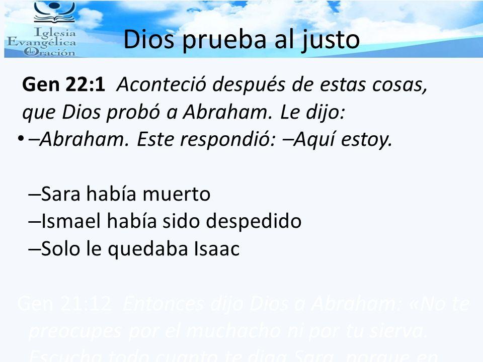 Dios prueba al justo que Dios probó a Abraham. Le dijo: