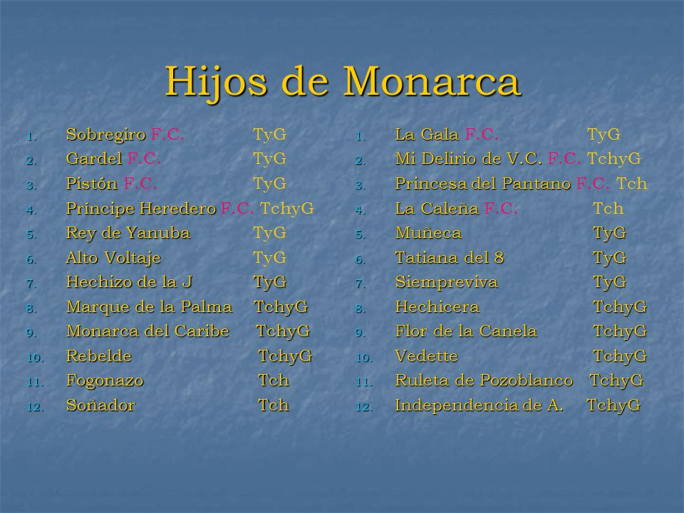 Hijos de Monarca Sobregiro F.C. TyG Gardel F.C. TyG Pistón F.C. TyG