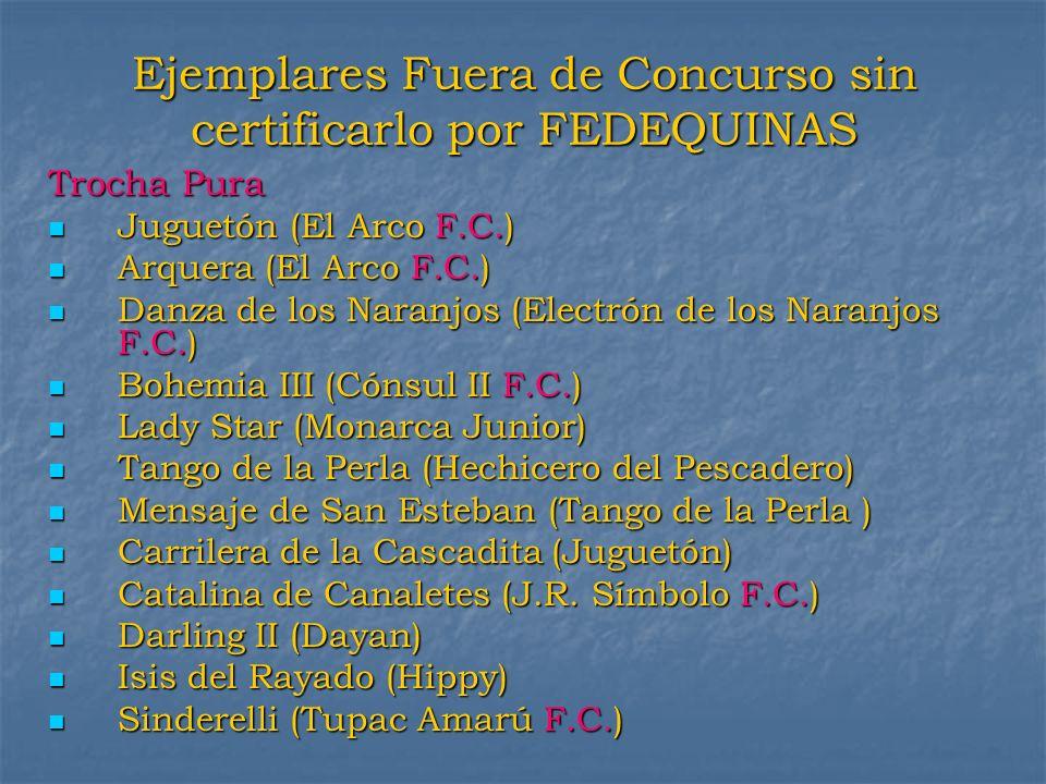 Ejemplares Fuera de Concurso sin certificarlo por FEDEQUINAS