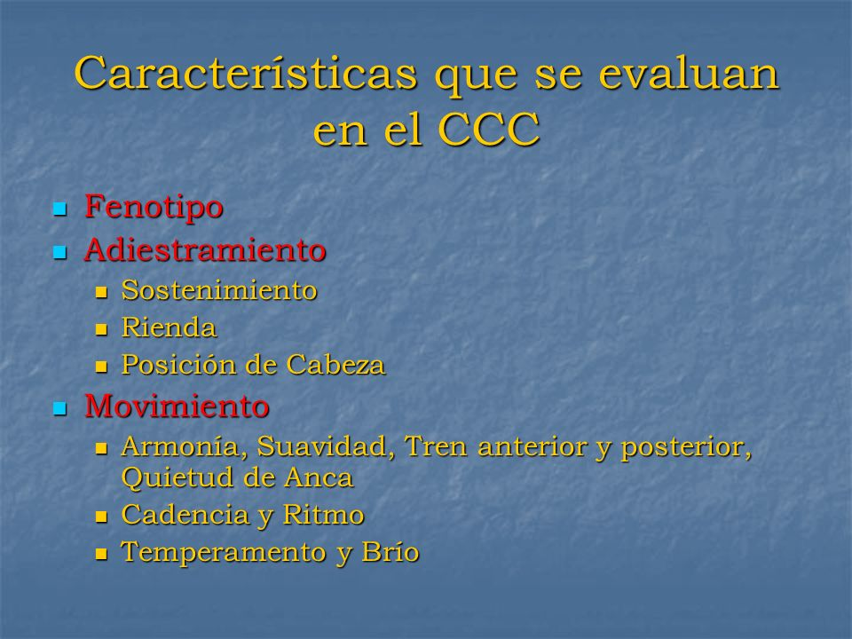 Características que se evaluan en el CCC