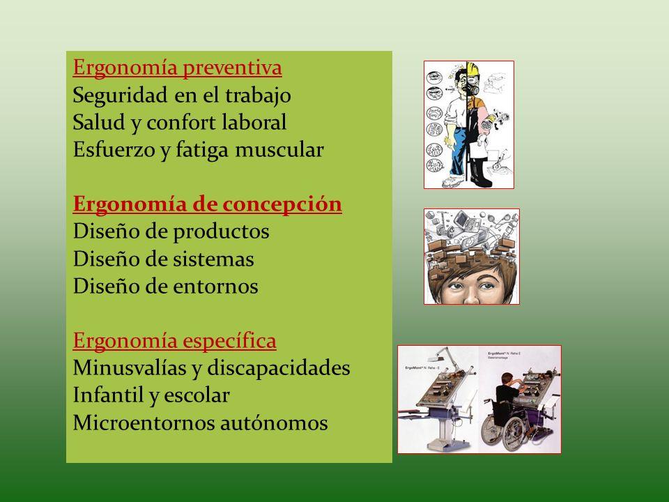 Ergonomía preventivaSeguridad en el trabajo. Salud y confort laboral. Esfuerzo y fatiga muscular. Ergonomía de concepción.
