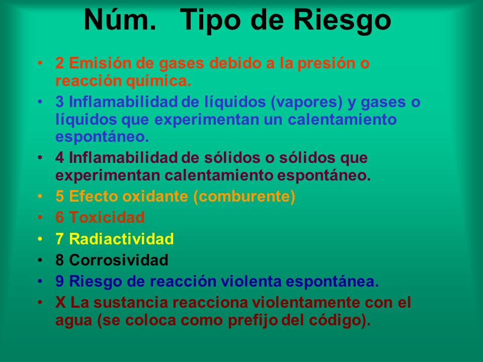 Núm. Tipo de Riesgo2 Emisión de gases debido a la presión o reacción química.