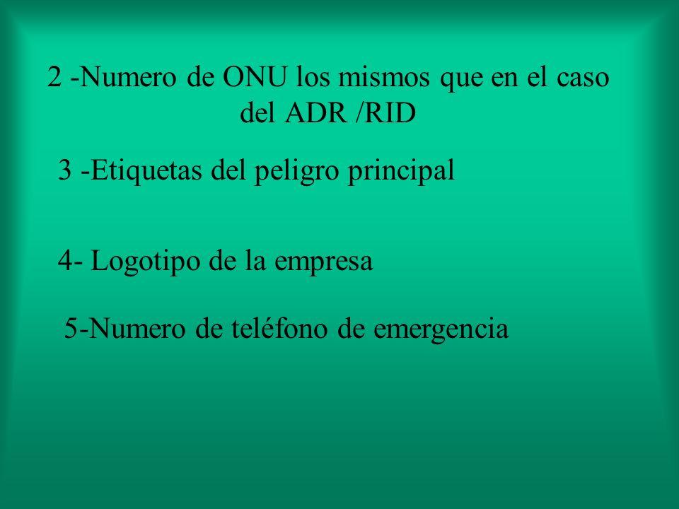 2 -Numero de ONU los mismos que en el caso del ADR /RID