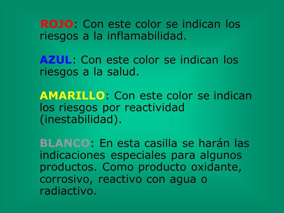 ROJO: Con este color se indican los riesgos a la inflamabilidad