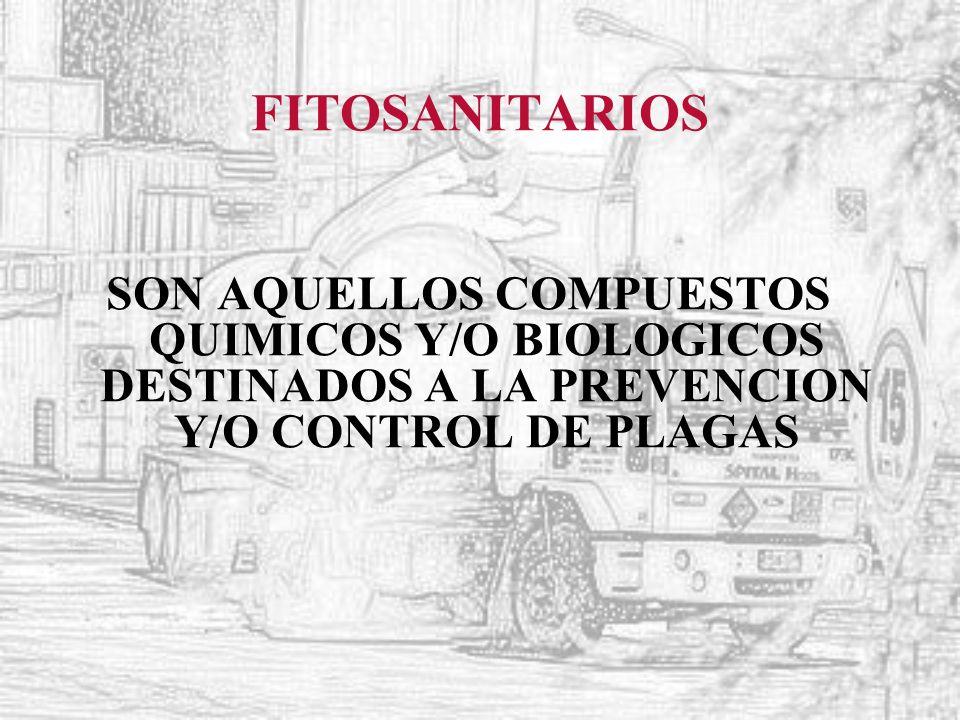 FITOSANITARIOS SON AQUELLOS COMPUESTOS QUIMICOS Y/O BIOLOGICOS DESTINADOS A LA PREVENCION Y/O CONTROL DE PLAGAS.