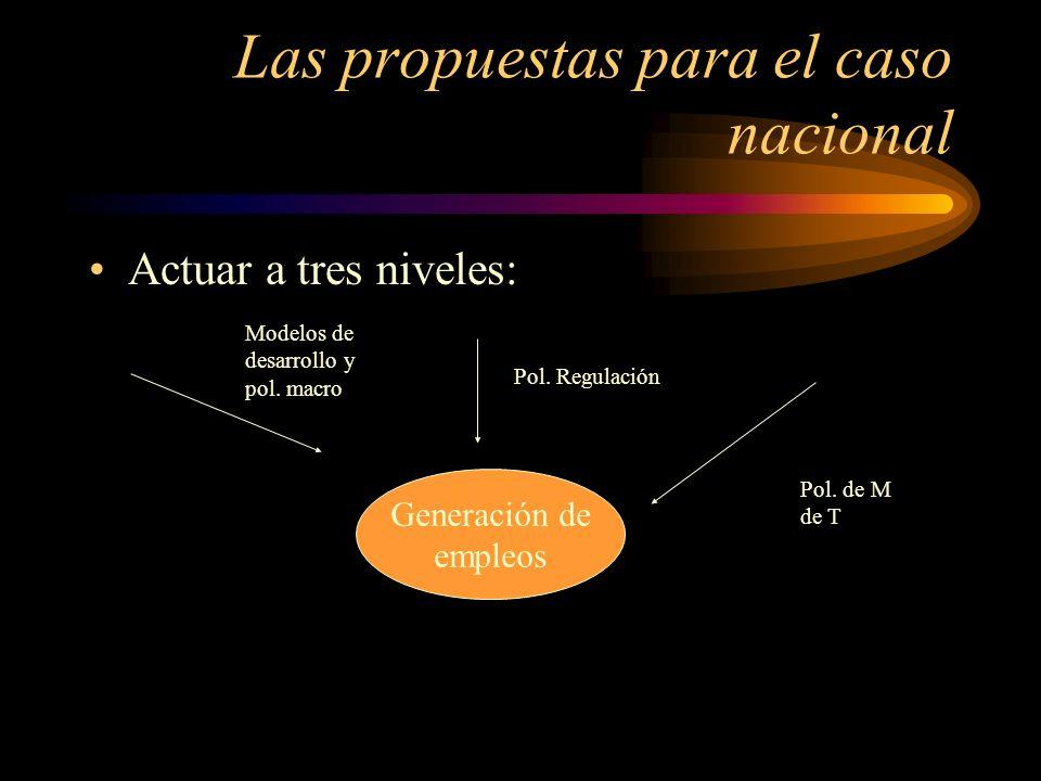 Las propuestas para el caso nacional