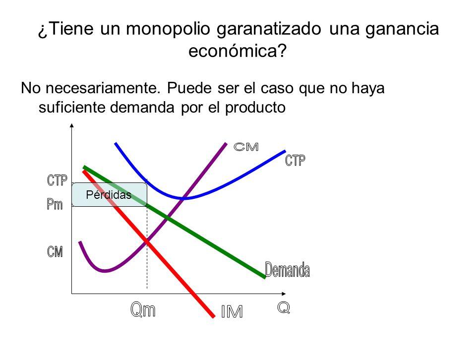 ¿Tiene un monopolio garanatizado una ganancia económica