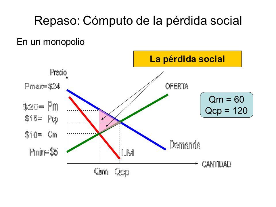 Repaso: Cómputo de la pérdida social