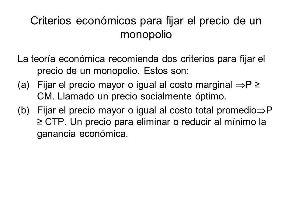 Criterios económicos para fijar el precio de un monopolio