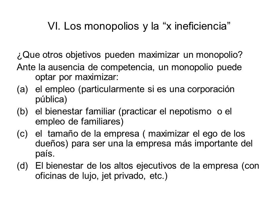 VI. Los monopolios y la x ineficiencia
