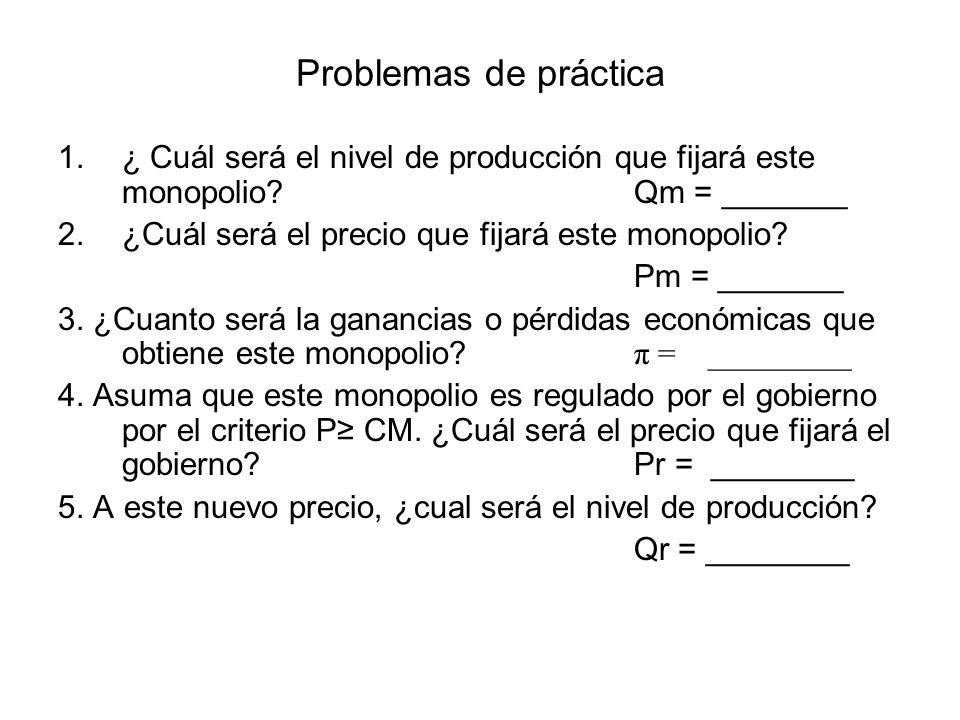 Problemas de práctica ¿ Cuál será el nivel de producción que fijará este monopolio Qm = _______.