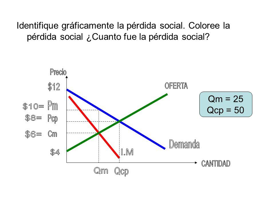 Identifique gráficamente la pérdida social