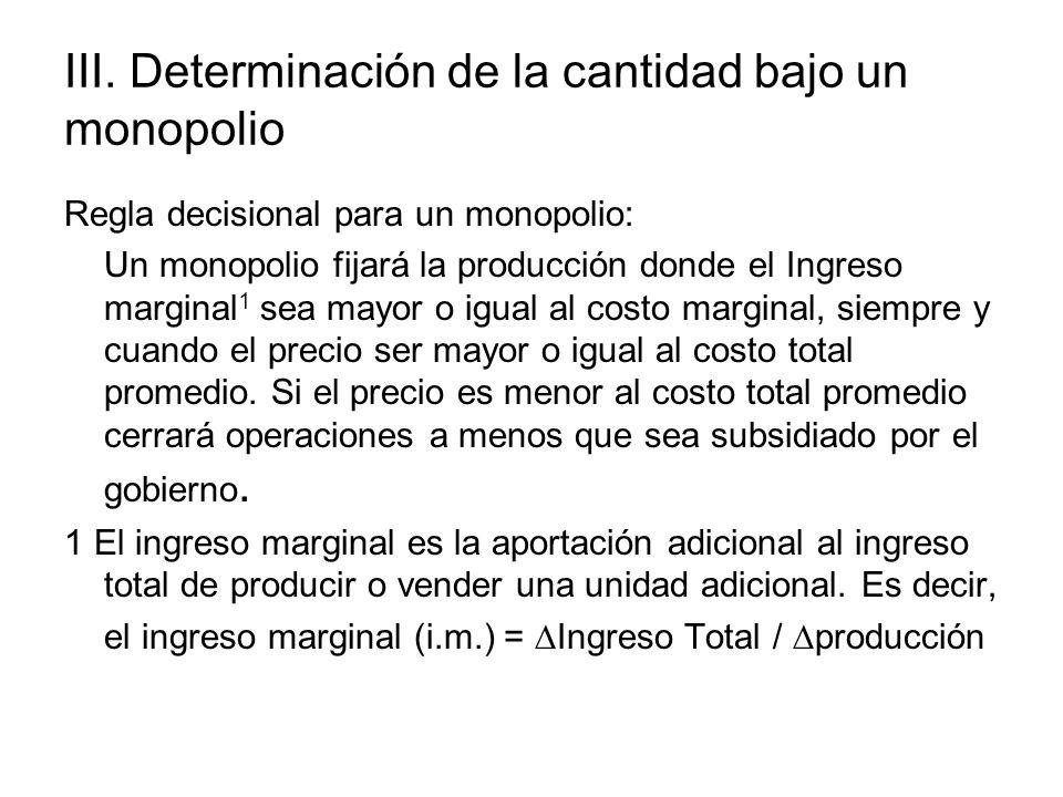III. Determinación de la cantidad bajo un monopolio