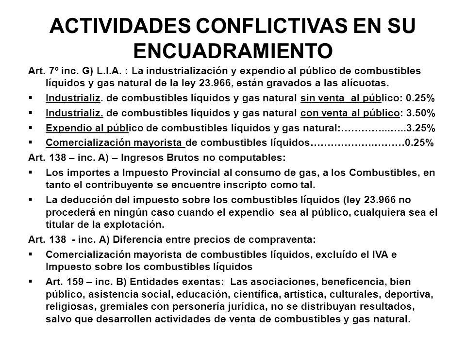 ACTIVIDADES CONFLICTIVAS EN SU ENCUADRAMIENTO