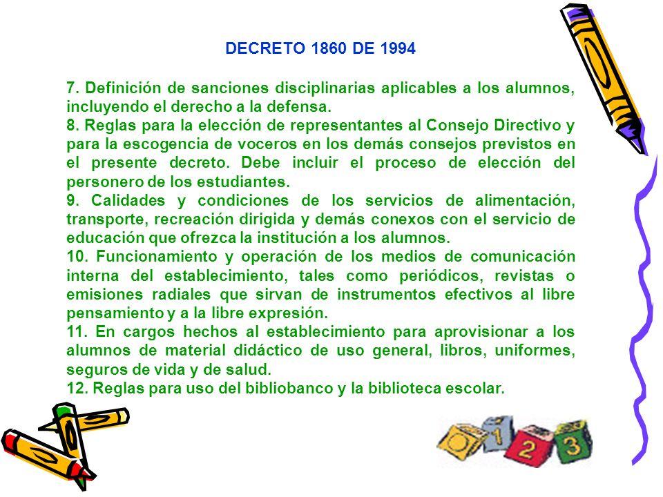 DECRETO 1860 DE 1994 7. Definición de sanciones disciplinarias aplicables a los alumnos, incluyendo el derecho a la defensa.