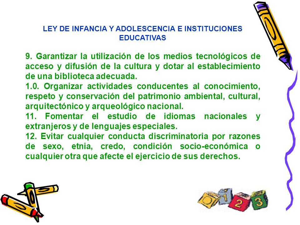 LEY DE INFANCIA Y ADOLESCENCIA E INSTITUCIONES EDUCATIVAS